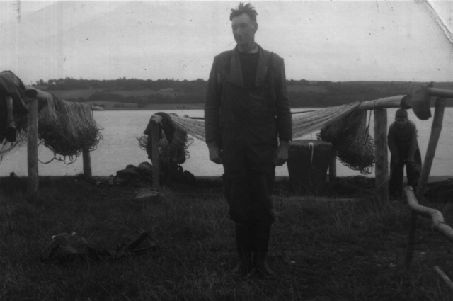 Dick Morrison with his nets on the River Blackwater